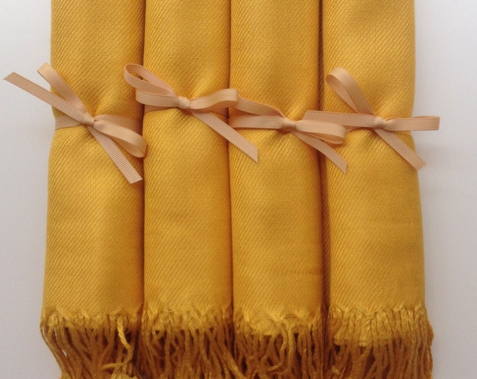 Mustard Yellow Shawls with Gold Ribbon, Set of 4, Pashmina, Scarf, Wedding Favor, Bridal Shower Gift, Bridesmaids Gift, Wedding Keepsakes