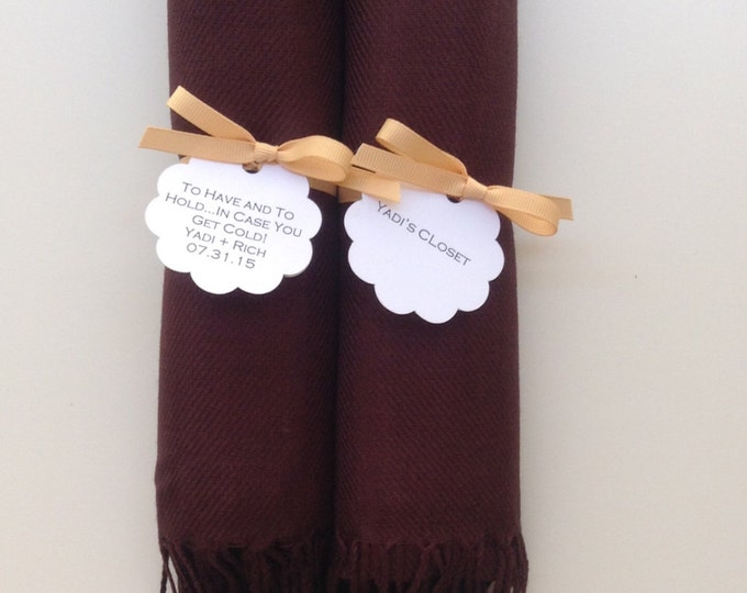 Chocolate Brown Shawls with Caramel Ribbon and Scallop Favor Tags, Set of 2, Pashmina, Scarf, Wedding Favors, Bridal Shower, Wraps,