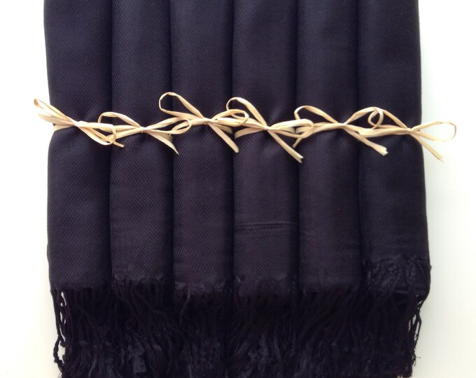 Pashmina, Black Shawls, Raffia Ribbon, Set of 6, Pashminas, Wedding Favors, Bridal Shower Gift, Bridesmaid Gift, Bridesmaid Pashmina, Shawls