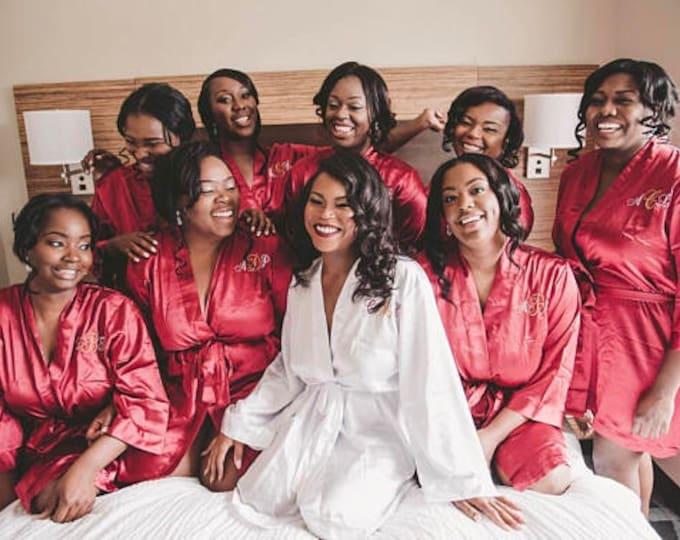 Bridesmaid Robes, Set of 6, Satin Robes, Bridesmaids Gifts, Wedding Party, Monogrammed Bridal Party Robes, Silk Bridesmaid Robes