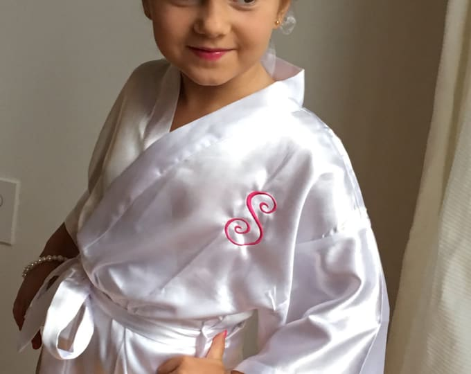 Flower Girl Satin Robe, 1, Junior Bridesmaid Satin Robe, Monogrammed, Bridesmaids Gifts, Kids Robe, Bridal Party Robes, Children Satin Robes