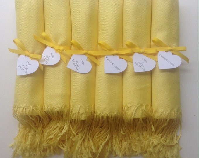 Sunshine Yellow Shawls with Yellow Ribbon and Heart Favor Tags, Set of 10, Pashminas, Wedding Favors, Bridal, Bridesmaids Gift, Wraps