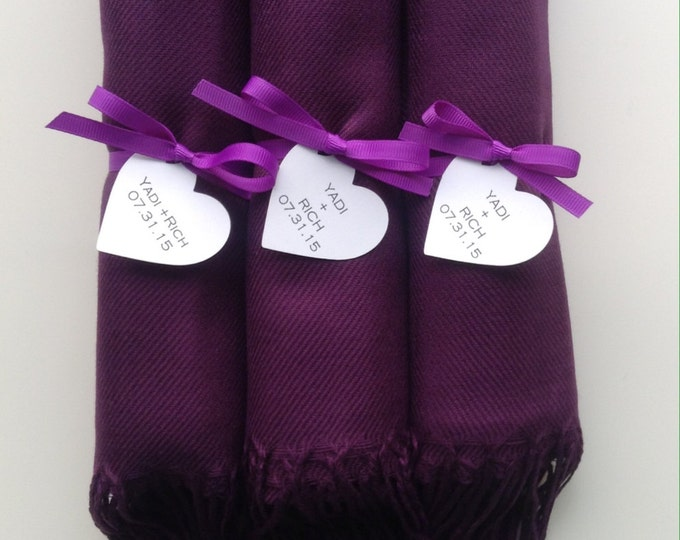 Eggplant Shawls with Purple Ribbon and Heart Favor Tags, Set of 3, Pashmina, Wedding Favor, Bridal, Bridesmaids Gift, Wedding Keepsakes