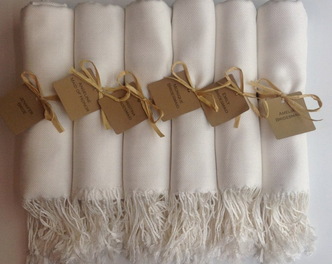 Pashmina, Ivory Shawls, Raffia Ribbon, Kraft Favor Tags, Set of 11, Pashminas, Wedding Favors, Bridesmaids Gift, Bridesmaid Pashmina, Shawls