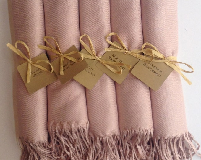 Nude Shawls with Raffia Ribbon and Kraft Favor Tags, Set of 5, Pashmina, Wedding Favor, Bridal, Bridesmaids Gift, Wraps, Welcome Bags