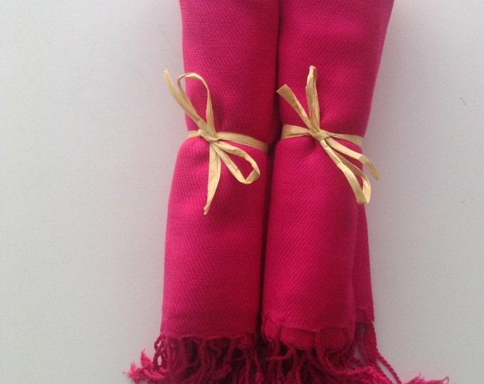 Hot Pink Shawls with Raffia Ribbon, Set of 2, Pashmina, Scarf, Shawl, Wedding Favor, Bridal Shower Gift, Bridesmaids Gift, Wrap