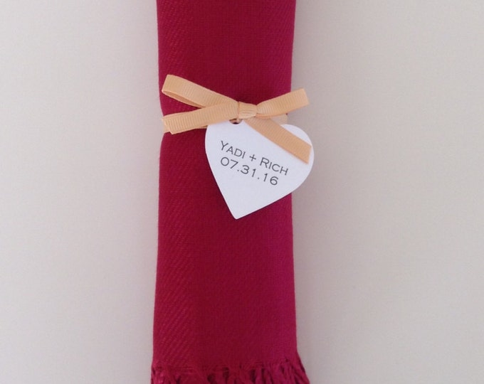 Wine Red Shawl with Gold Ribbon and Heart Favor Tag, 1, Pashmina, Wedding Favor, Bridal, Bridesmaids, Wraps, Welcome Bags, Wedding Keepsakes