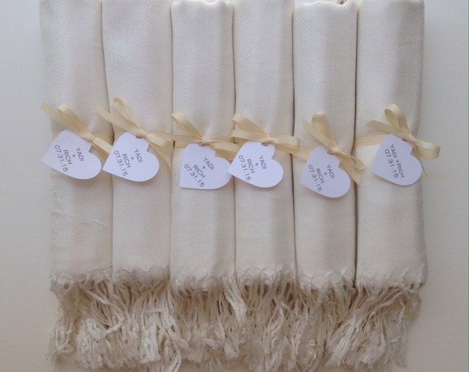 Ivory Shawls with Ivory Ribbon and Heart Favor Tags, Set of 9, Pashmina, Wedding Favor, Bridal, Bridesmaids Gift, Wraps, Welcome Bags
