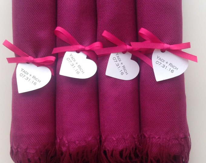Magenta Shawls with Hot Pink Ribbon and Heart Favor Tags, Set of 4, Pashmina, Wedding Favor, Bridal Shower Gift, Wraps, Welcome Bags