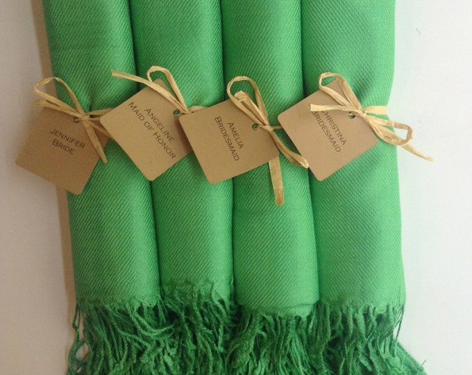Green Shawls with Raffia Ribbon and Kraft Favor Tags, Set of 4, Pashmina, Wedding Favor, Bridal Shower Gift, Bridesmaids Gift, Wraps