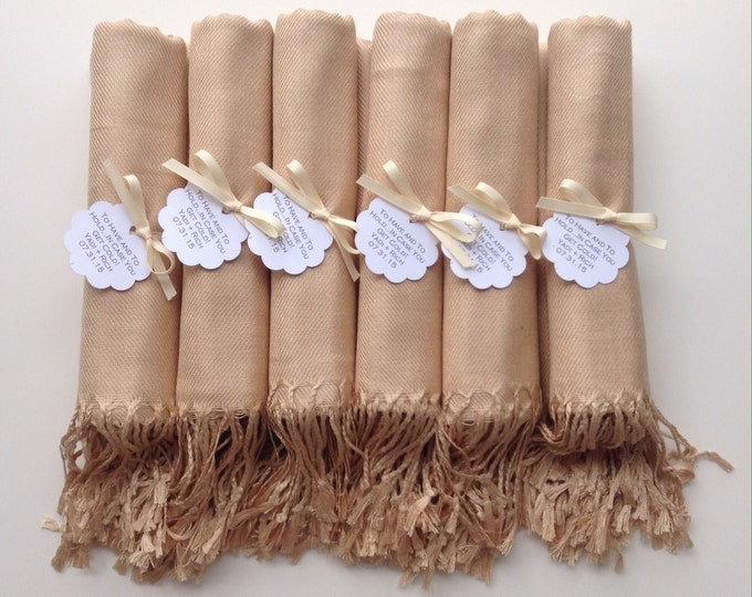 Champagne Shawls with Ivory Ribbon and Scallop Favor Tags, Set of 7, Pashmina, Wedding Favor, Bridal, Bridesmaids Gift, Wraps, Welcome Bags