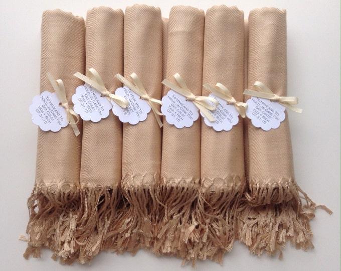 Pashmina, Champagne Shawls, Ivory Ribbon, Scallop Favor Tags, Set of 10, Pashminas, Wedding Favors, Bridesmaid Gift, Bridesmaid Pashmina
