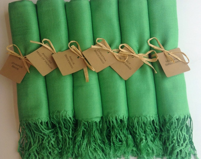 Green Shawls with Raffia Ribbon and Kraft Favor Tags, Set of 6, Pashmina, Wedding Favor, Bridal Shower Gift, Bridesmaids Gift