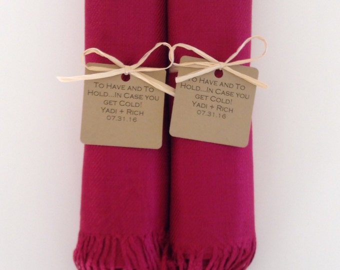 Wine Red Shawls with Raffia Ribbon and Kraft Favor Tags, Set of 2, Pashmina, Bridal, Bridesmaids, Wraps, Welcome Bags, Wedding Keepsakes