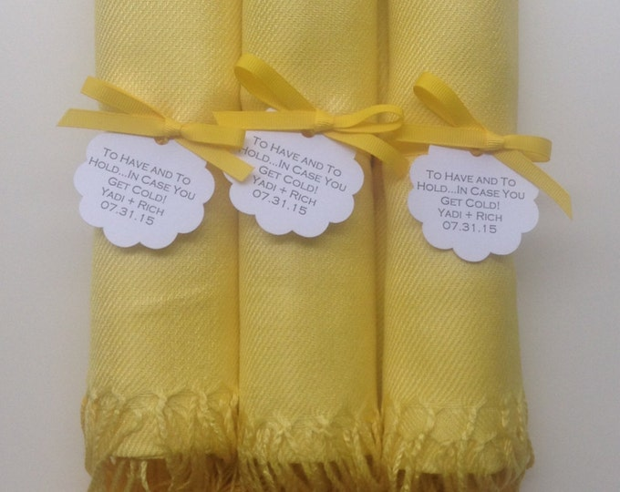 Sunshine Yellow Shawls with Yellow Ribbon and Scallop Favor Tags, Set of 3, Pashminas, Bridal, Bridesmaids Gift, Wraps, Welcome Bags