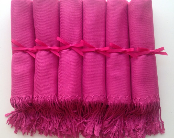 Hot Pink Shawls with Hot Pink Ribbon, Set of 12, Pashmina, Scarf, Shawl, Wedding Favor, Bridal Shower Gift, Bridesmaids Gift, Wrap