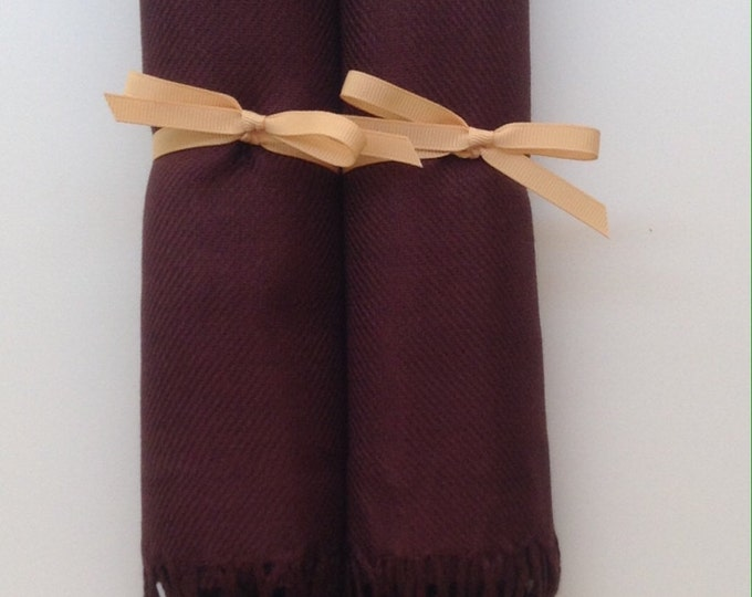 Chocolate Brown Shawls with Caramel Ribbon, Set of 2, Pashmina, Scarf, Wedding Favors, Bridesmaid Pashmina, Bridesmaids Gift, Welcome Bags