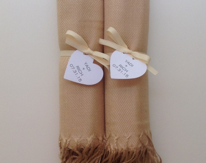 Champagne Shawls with Ivory Ribbon and Heart Favor Tags, Set of 2, Pashmina, Wedding Favor, Bridal, Bridesmaids Gift, Wraps, Welcome Bags