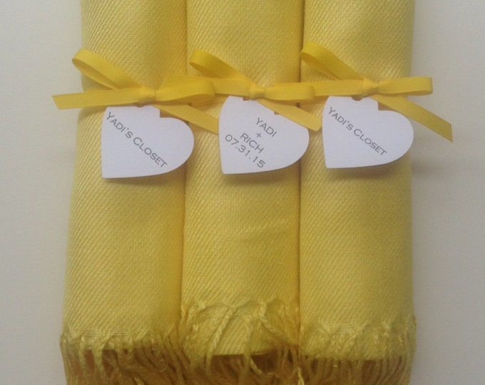 Sunshine Yellow Shawls with Yellow Ribbon and Heart Favor Tags, Set of 3, Pashminas, Wedding Favors, Bridal, Bridesmaids Gift, Wraps