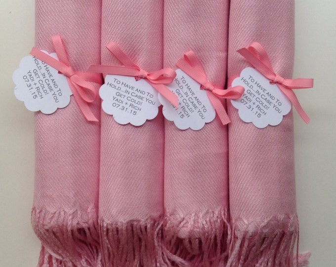 Blush Pink Shawls with Pink Ribbon and Scallop Favor Tags, Set of 4, Pashmina, Wedding Favor, Bridal, Bridesmaids Gift, Wraps, Welcome Bags