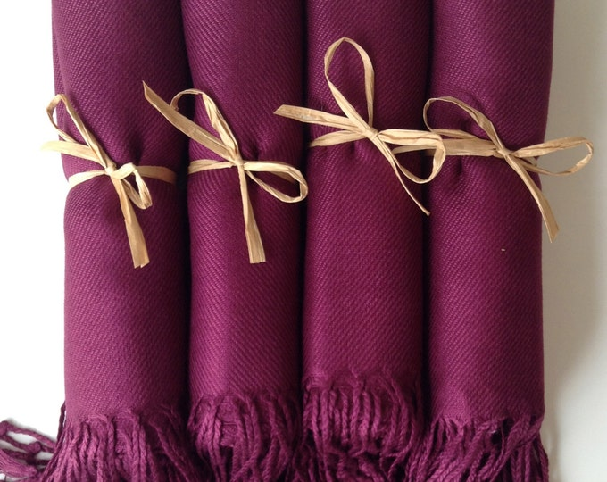 Pashmina, Garnet Burgundy Shawls, Raffia Ribbon, Set of 4, Pashminas, Wedding Favors, Bridal Shower Favors, Bridesmaids Gift, Pashmina