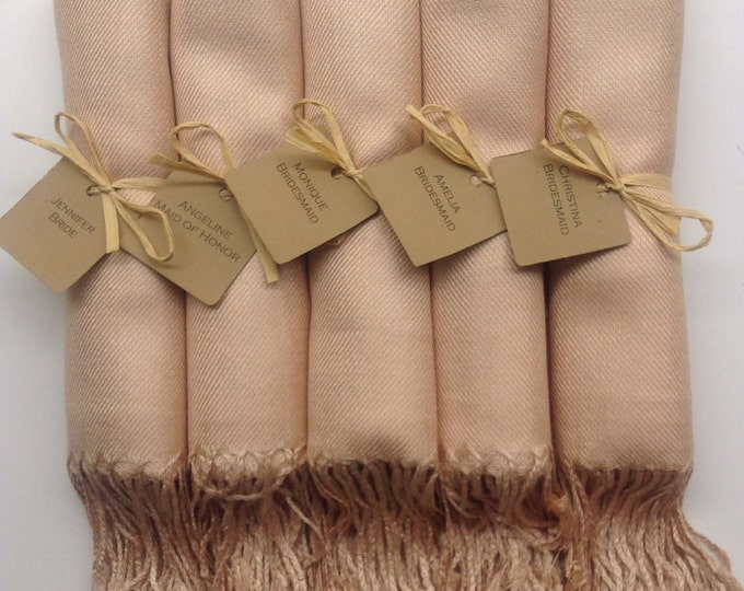 Champagne Shawls with Raffia Ribbon and Kraft Favor Tags, Set of 5, Pashmina, Scarf, Wedding Favor, Bridal Shower Gift, Bridesmaids Gift