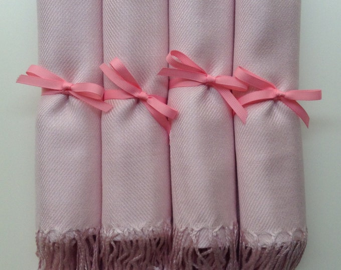 Baby Pink Shawls with Pink Ribbon, Set of 4, Pashmina, Scarf, Wedding Favor, Bridal Shower Gift, Bridesmaids Gift, Wedding Keepsakes