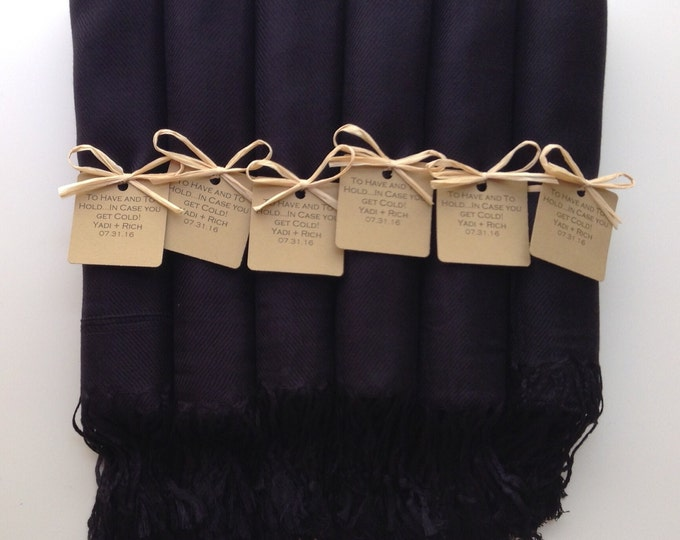 Black Shawls with Raffia Ribbon and Kraft Favor Tags, Set of 10, Pashmina, Favors, Bridal Shower Gift, Bridesmaids Gift, Wraps, Welcome Bags