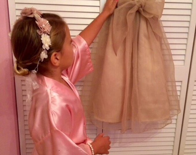 Flower Girl Satin Robes, Set of 3,  Junior Bridesmaids, Bridesmaids Gifts, Kids Robe, Bridal Party Robes, Children Satin Robes