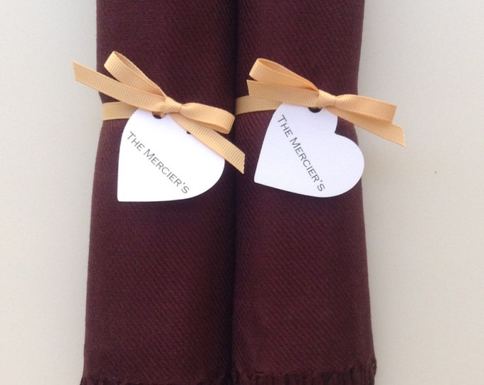 Chocolate Brown Shawls with Caramel Ribbon and Heart Favor Tags, Set of 2, Pashmina, Scarf, Wedding Favors, Bridesmaids Gift, Wraps