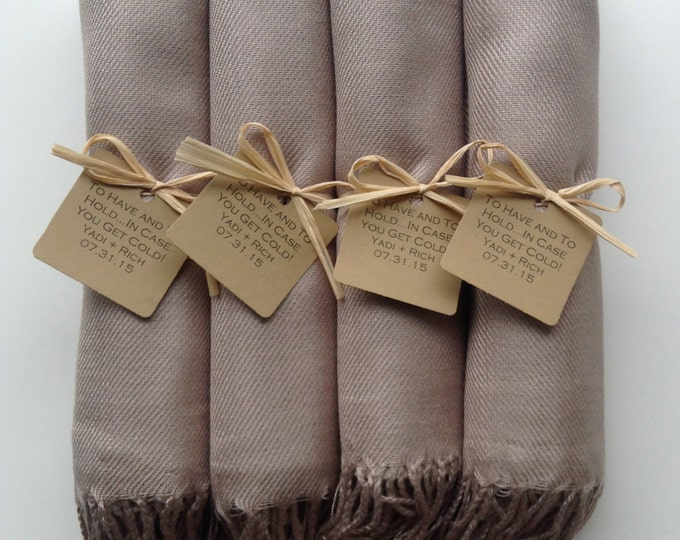 Taupe Shawls with Raffia Ribbon and Kraft Favor Tags, Set of 4, Pashmina, Wedding Favor, Bridal, Bridesmaids Gift, Wraps, Welcome Bags