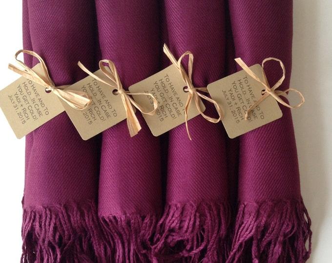 Garnet Burgundy Shawls with Raffia Ribbon and Kraft Favor Tags, Set of 4, Pashmina, Wedding Favor, Bridal, Bridesmaids Gift, Wraps