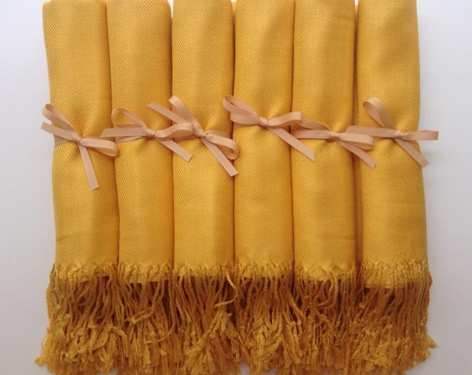 Mustard Yellow Shawls with Gold Ribbon, Set of 10, Pashmina, Scarf, Wedding Favor, Bridal Shower Gift, Bridesmaids Gift, Wedding Keepsakes