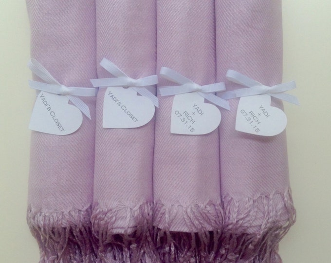 Lilac Shawls with White Ribbon and Heart Favor Tags, Set of 4, Pashminas, Scarf, Wedding Favor, Bridal Shower, Bridesmaids Gift, Wraps