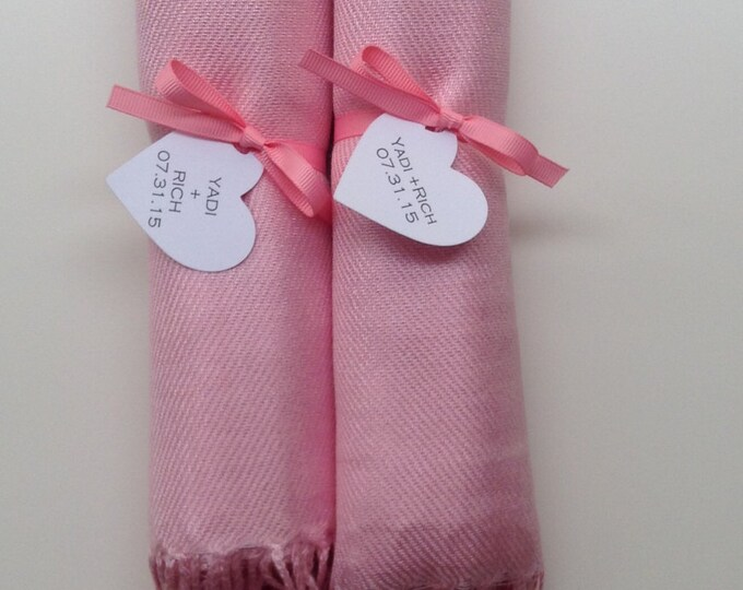 Blush Pink Shawls with Pink Ribbon and Heart Favor Tags, Set of 2, Pashmina, Wedding Favor, Bridal, Bridesmaids Gift, Wraps, Welcome Bags