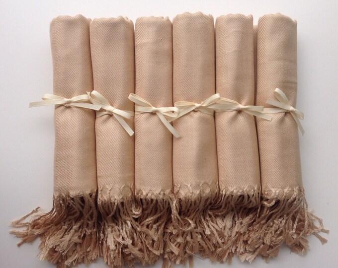 Pashmina, Champagne Shawls, Ivory Ribbon, Set of 7, Pashminas, Wedding Favors, Bridesmaids Gift, Bridal Shower Favors, Bridesmaids Pashminas