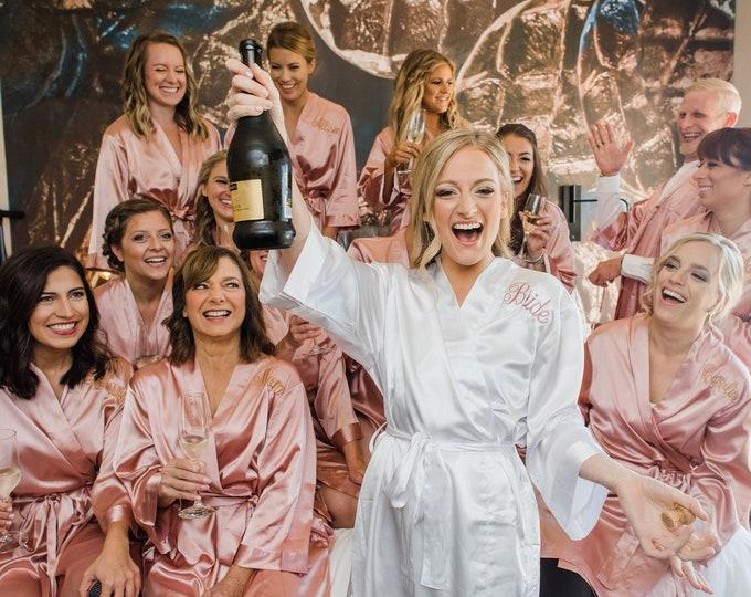 Bridesmaid Robes, Set of 9, Satin Robes, Bridesmaids Gifts, Wedding Party Robes, Bridal Party Robes, Silk Bridesmaid Robes, Bridesmaids Robe