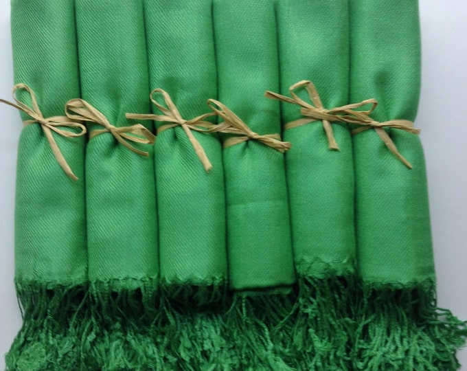 Green Shawls with Raffia Ribbon, Set of 12, Pashmina, Scarf, Wedding Favor, Bridal Shower Gift, Bridesmaids Gift, Wraps, Welcome Bags