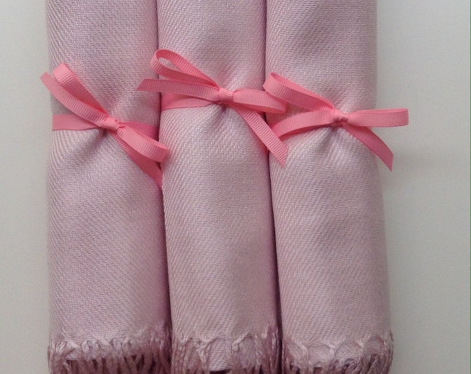 Baby Pink Shawls with Pink Ribbon, Set of 3, Pashmina, Scarf, Wedding Favor, Bridal Shower Gift, Bridesmaids Gift, Wedding Keepsakes