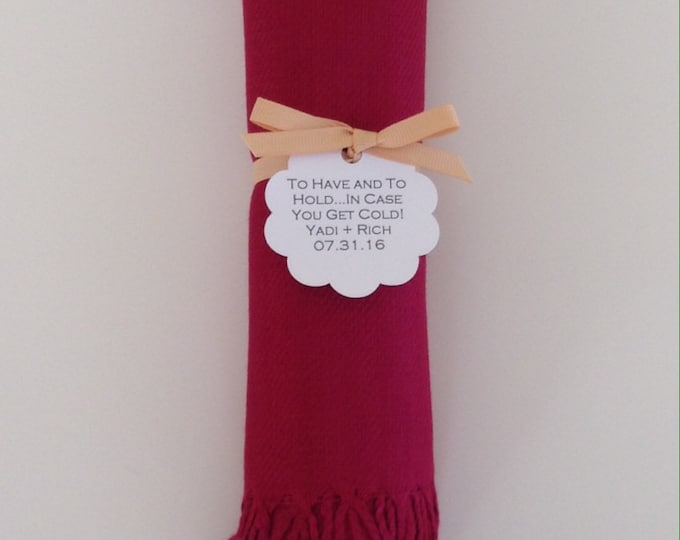 Wine Red Shawl with Gold Ribbon and Scallop Favor Tag, 1, Pashmina, Wedding Favor, Bridal, Bridesmaid, Wrap, Welcome Bags, Wedding Keepsakes
