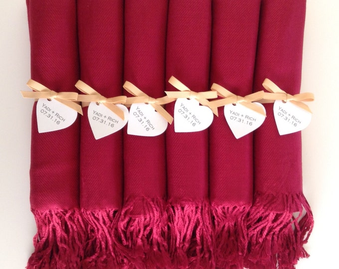 Wine Red Shawls with Gold Ribbon and Heart Favor Tags, Set of 6, Pashmina, Bridal, Bridesmaids, Wraps, Welcome Bags, Wedding Keepsakes