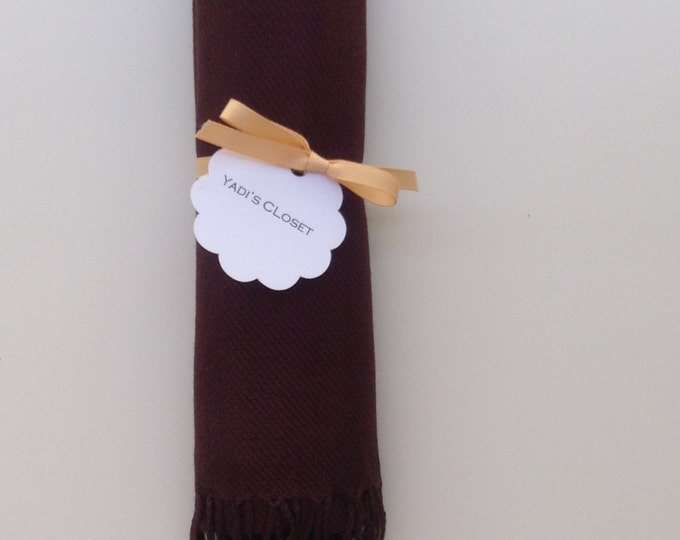Chocolate Brown Shawl with Scallop Favor Tag and Caramel Ribbon, 1, Pashmina, Scarf, Wedding Favor, Bridal Shower, Bridesmaids Gift, Wraps,