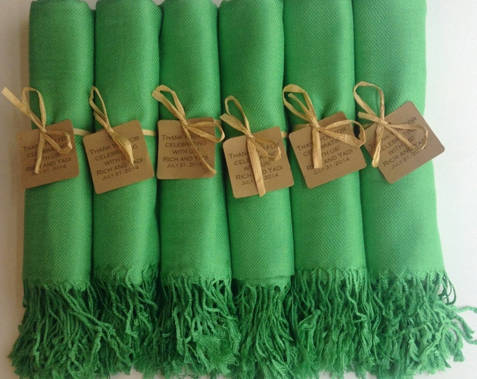 Green Shawls with Raffia Ribbon and Kraft Favor Tags, Set of 8, Pashmina, Wedding Favor, Bridal Shower Gift, Bridesmaids Gift
