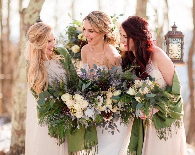 Lime Green Shawls with Raffia Ribbon, Set of 5, Pashmina, Scarf, Wedding Favors, Bridal Shower Gift, Bridesmaid Gift, Wraps, Keepsake