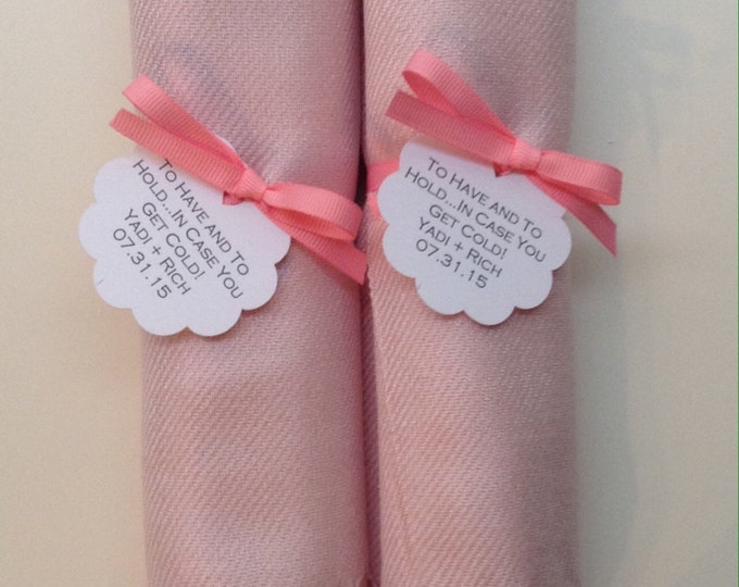 Baby Pink Shawls with Pink Ribbon and Scallop Favor Tags, Set of 2, Pashmina, Wedding Favor, Bridal, Bridesmaids Gift, Wraps, Welcome Bags