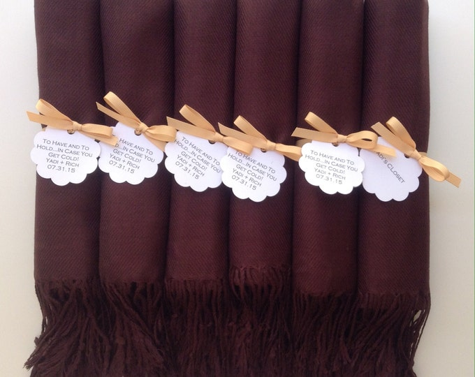 Chocolate Brown Shawls with Caramel Ribbon and Scallop Favor Tags, Set of 8, Pashmina, Scarf, Wedding Favors, Bridal Shower, Wraps,