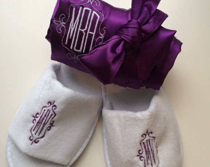 Bridal Party Robes with Monogrammed Spa Slippers, Set of 7, Bridesmaid Gift, Wedding Party, Bridal Party Robes, Bridesmaid Robe