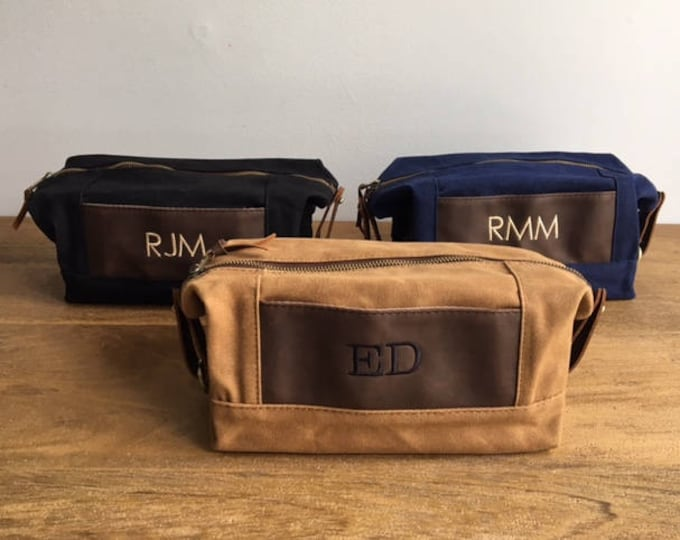 Groomsmen Gifts, Dopp Kits, 1, 2, 3, 4, 5, 6, 7, 8, 9, 10, 11, 12, Mens Travel Bag, Men Toiletry Bag, Waxed Canvas Leather Bag, Fathers Day