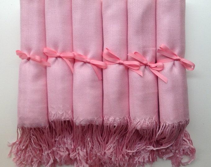 Blush Pink Shawls with Pink Ribbon, Set of 10, Pashmina, Scarf, Wedding Favor, Bridal Shower Gift, Bridesmaids Gift, Wedding Keepsakes
