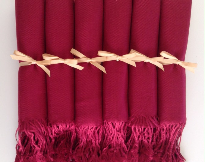 Wine Red Shawls with Gold Ribbon, Set of 6, Pashminas, Scarf, Shawl, Wedding Favor, Bridal Shower Gift, Bridesmaids Gift, Wrap, Welcome Bags
